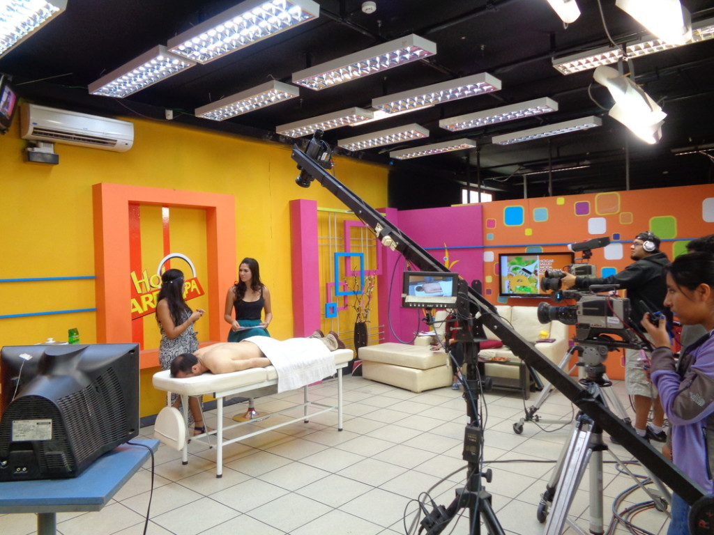 TV show in Arequipa, Peru. We did 3 guestings demonstrating Ayurveda Massage Therapy