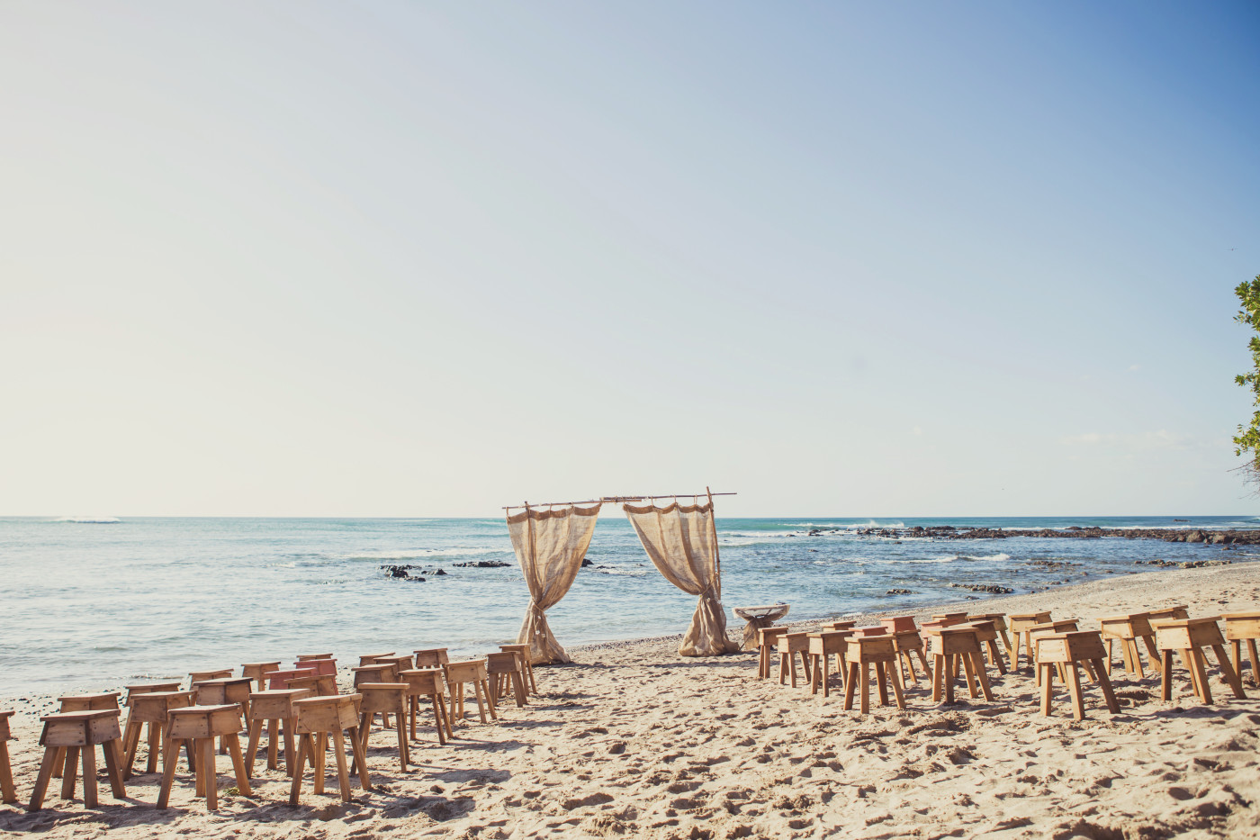 The beach ceremony set up at our Costa Rica wedding