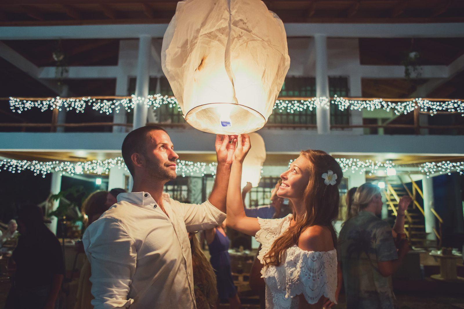 Max & Oksana making new years wish with Chinese lanterns. Costa Rica