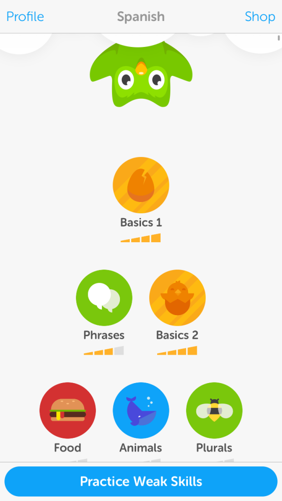 Learning Spanish with Duolingo