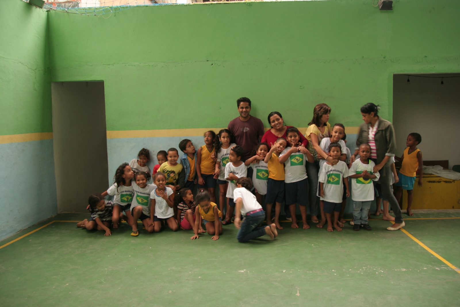 Kaushik and the kids at the project in Rio de Janeiro