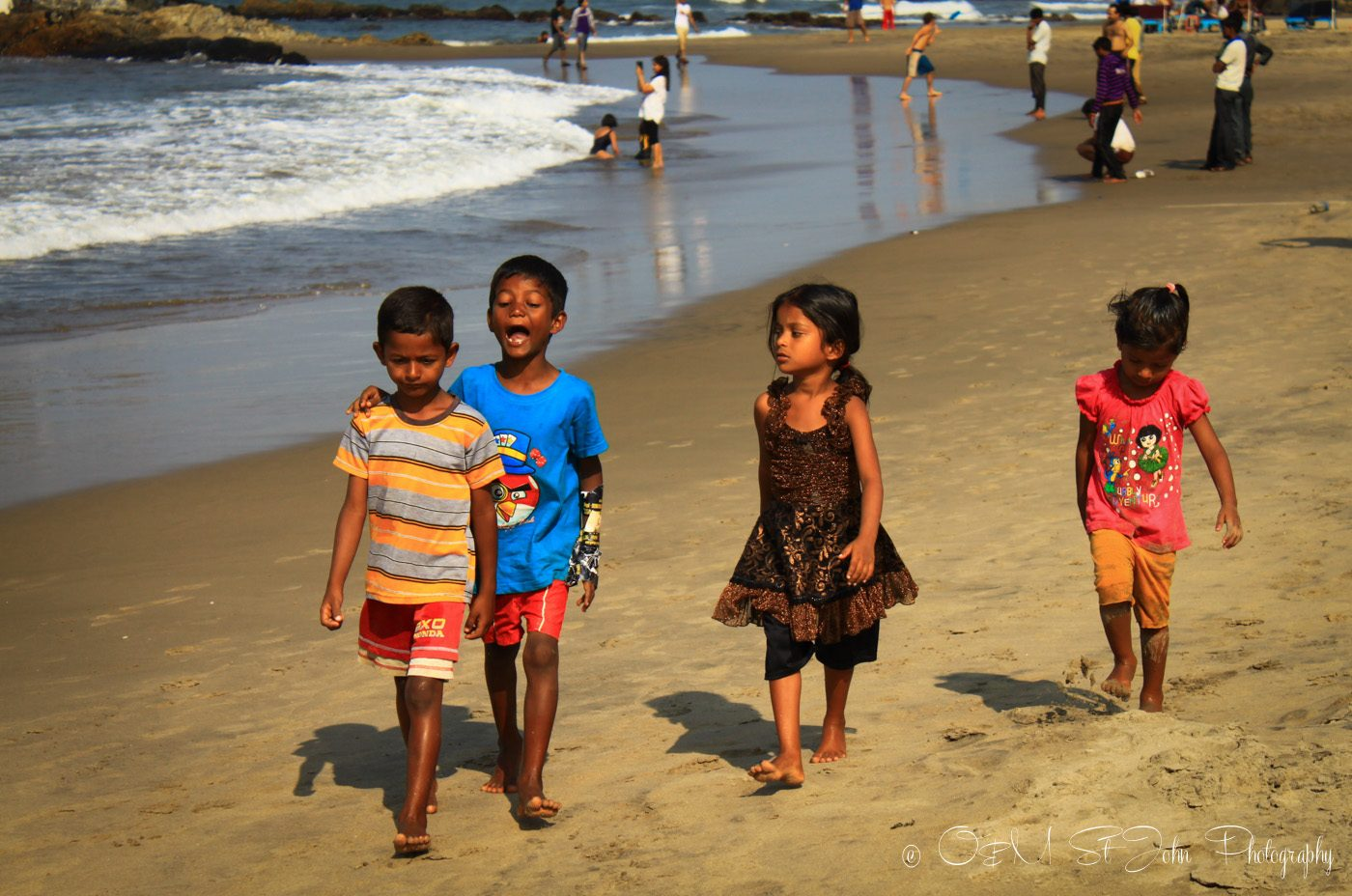 Kids on the beach in Goa, India