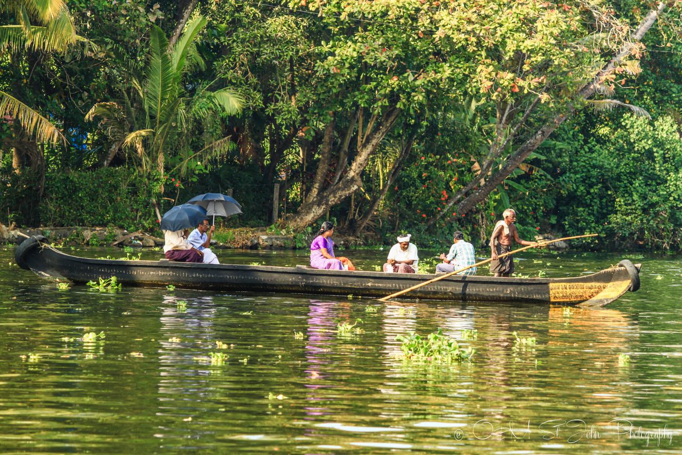 Locals in Kerala Backwaters. India