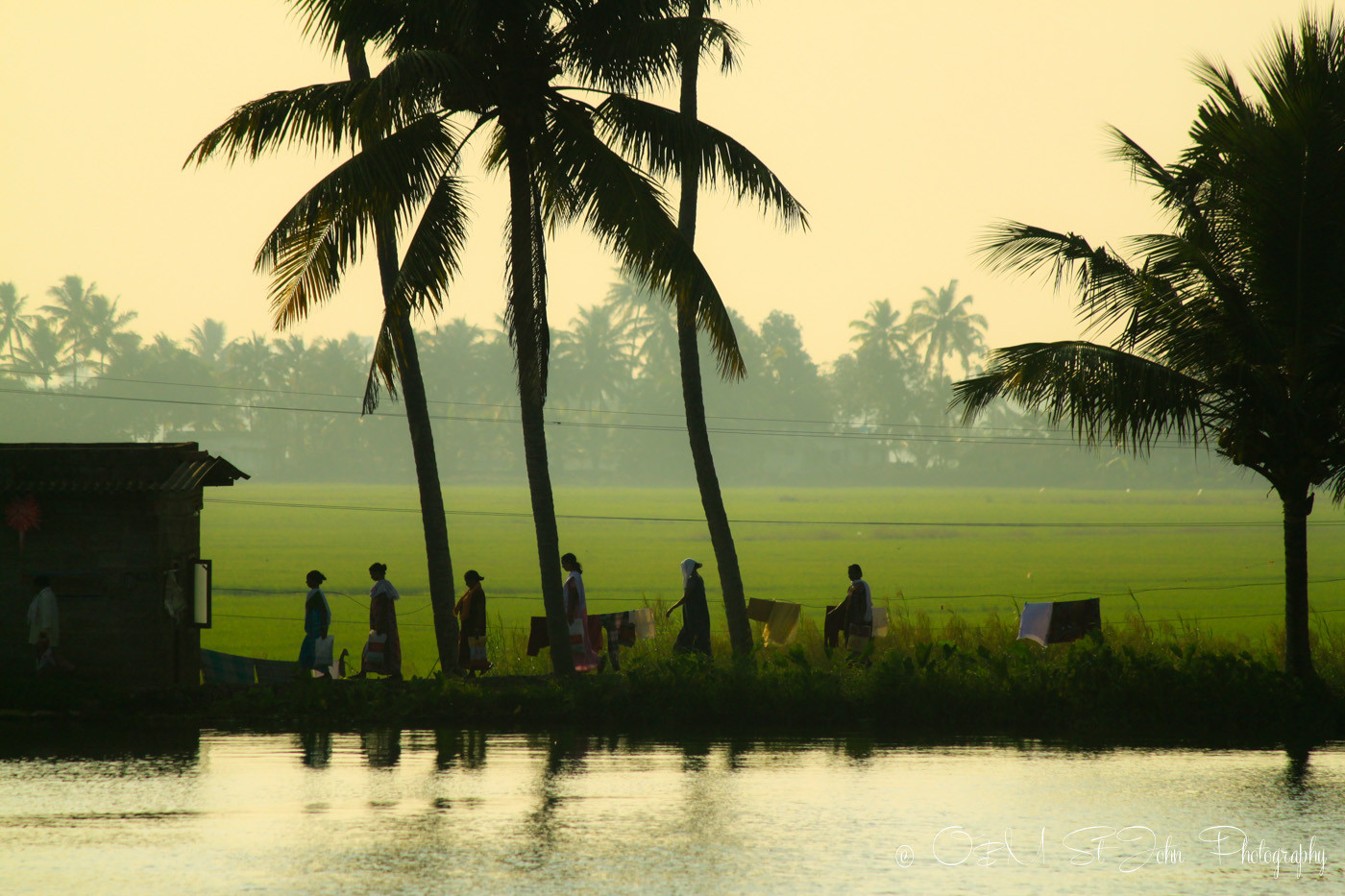 Local women making their way home along the river. Kerala Backwaters. India