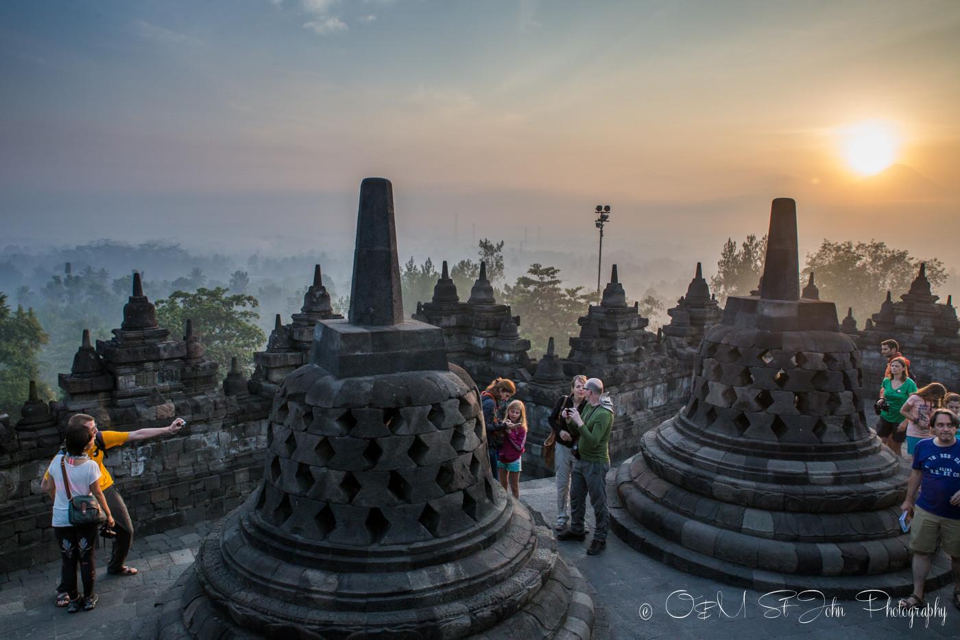 Crowds at Borobudur Temple. Central Java, Indonesia