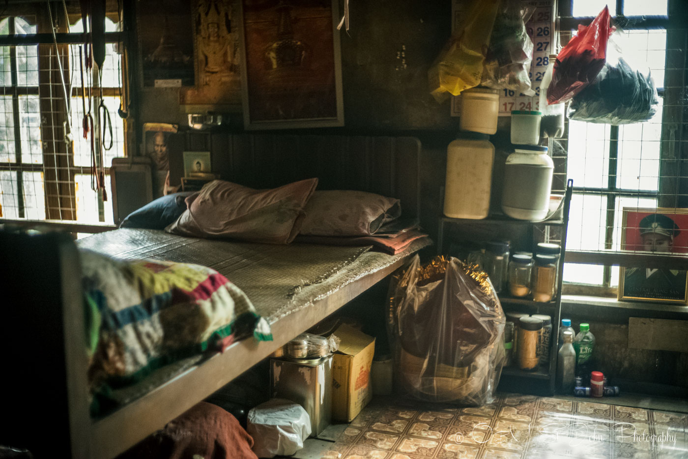 Typical Burmese monk living quarters of a monk in a monastery in Yangon. Myanmar