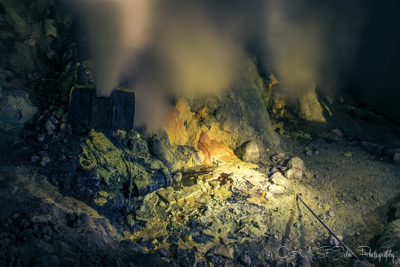 Sulfur fumes at the heart of Ijen Crater, East Java. Indonesia