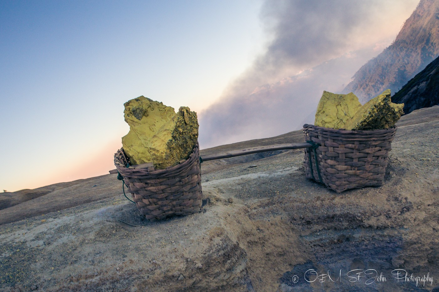 Sulfur baskets at Ijen Crater