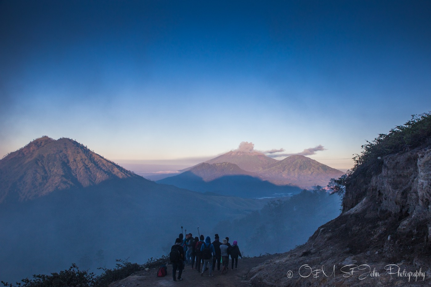 Ijen Crater: Views of Mount Bromo on our hike up Ijen Volcano
