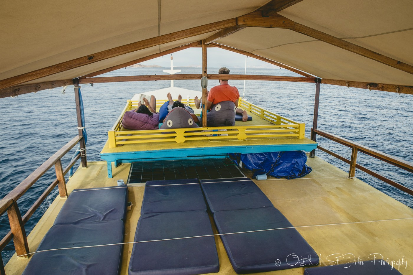 Comfy chil out area on the Uber Scuba Day Boat