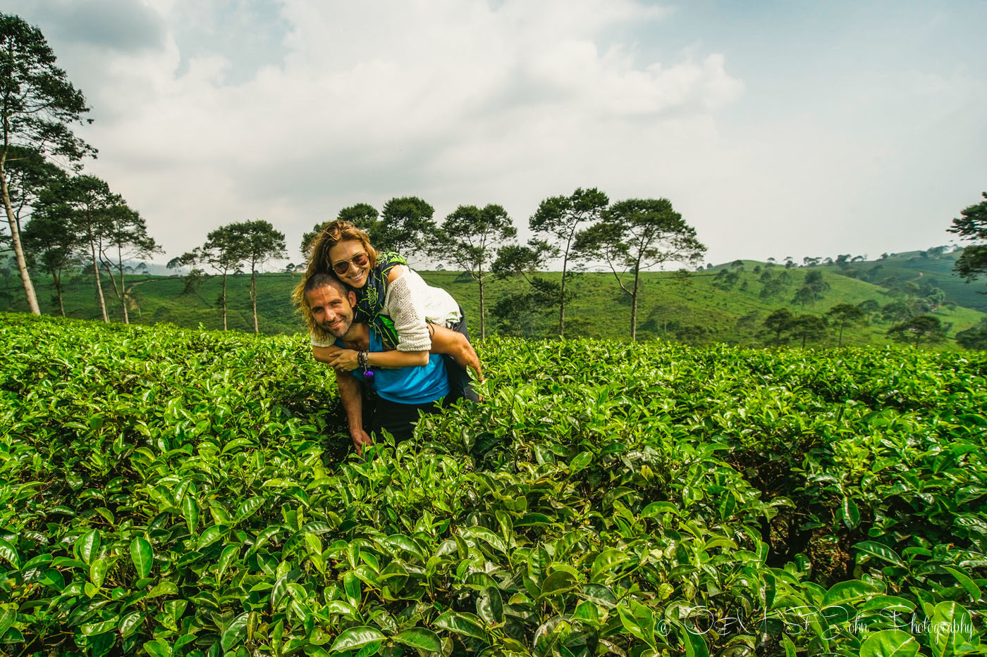 Oksana & Max on a tea plantation in Indonesia