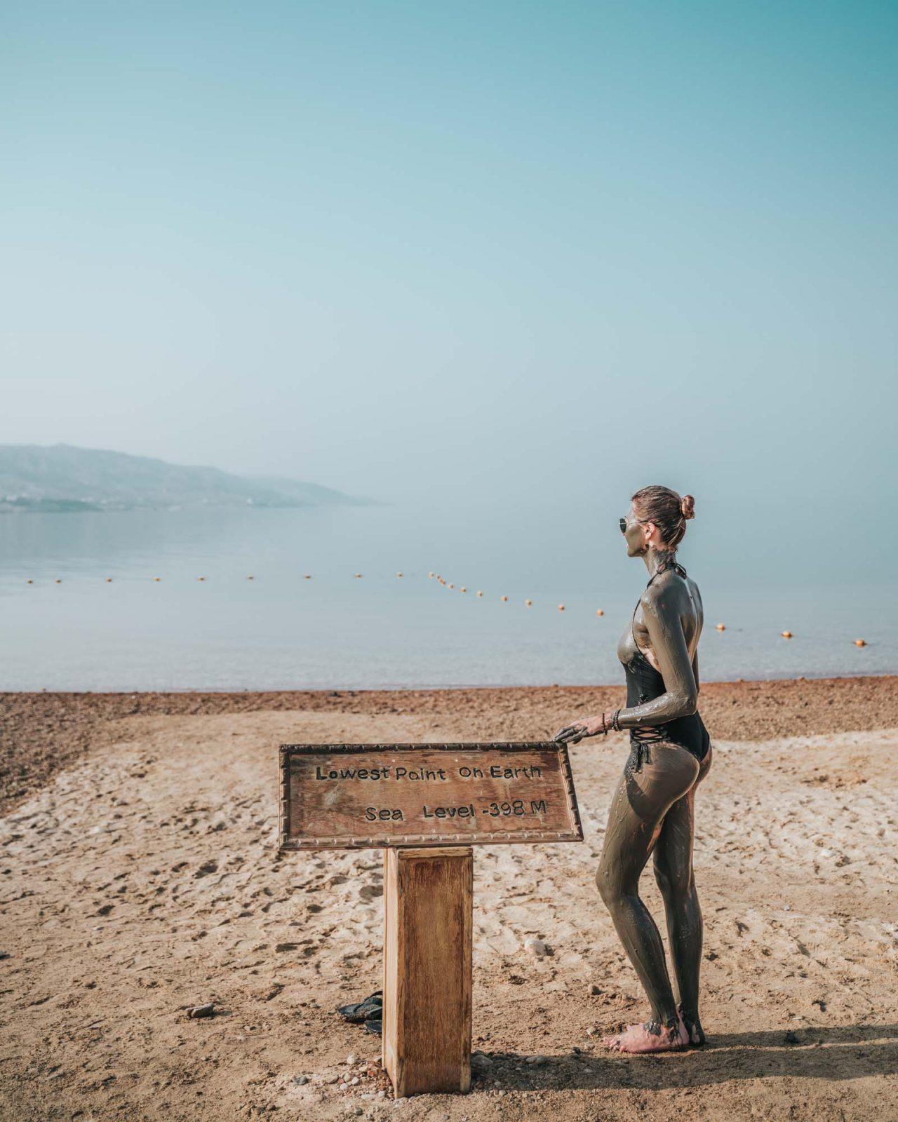 Jordan tour: Oksana about to take a dip in the Dead Sea