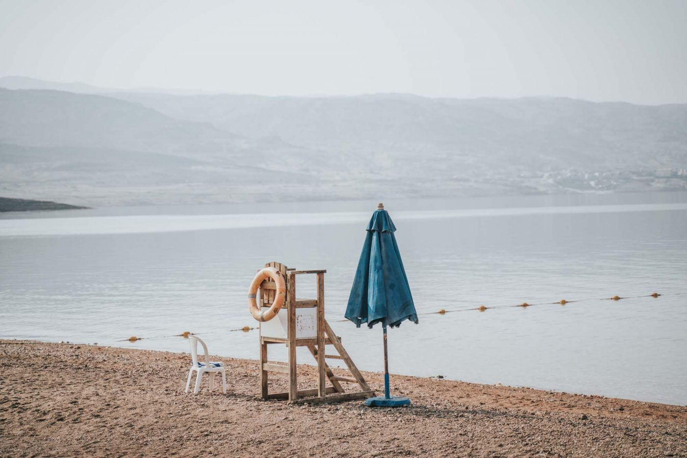 Jordan Tour: Lifeguard station on a private beach on the Jordanian side of the Dead Sea