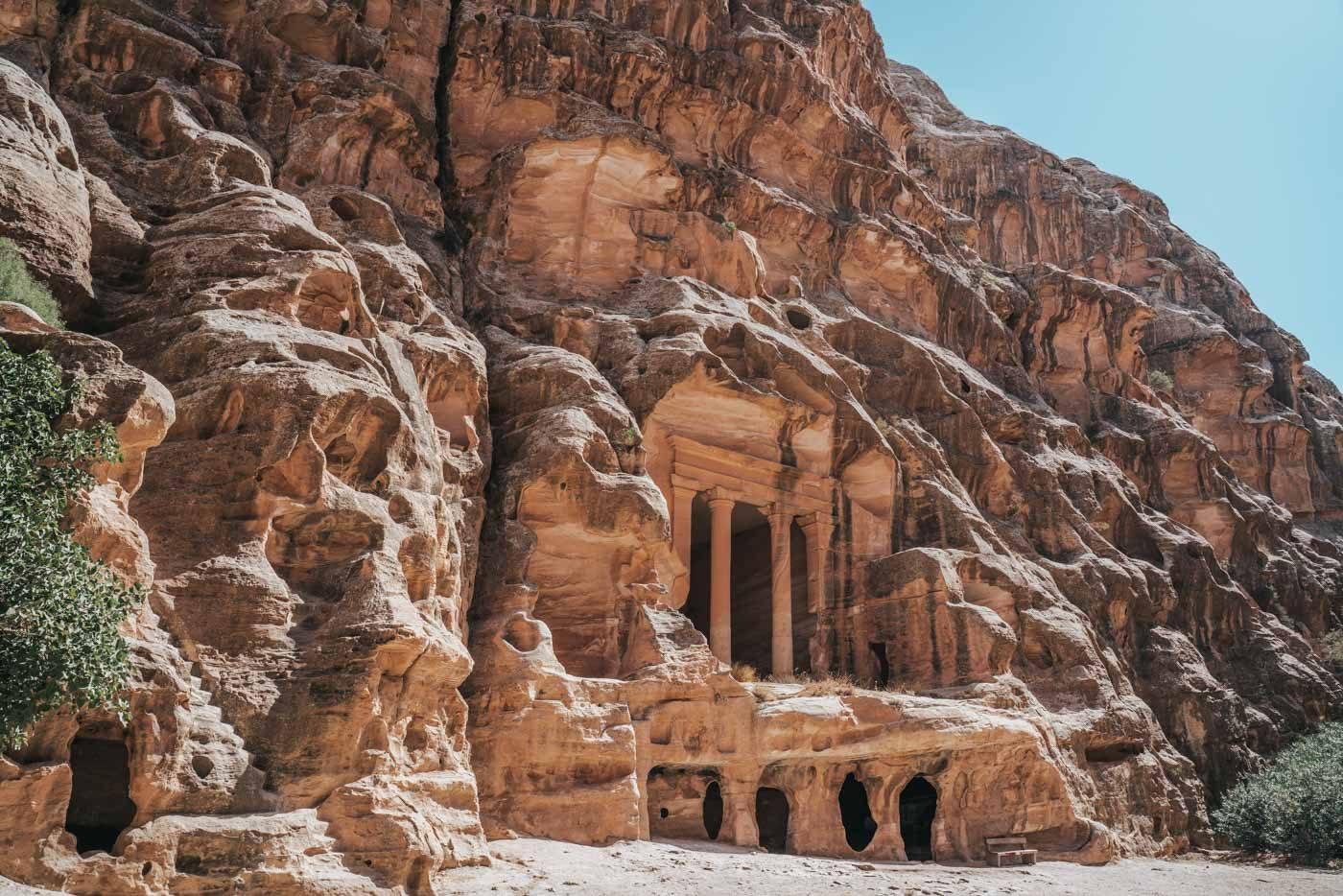 Rock carved settlements in Little Petra, Jordan