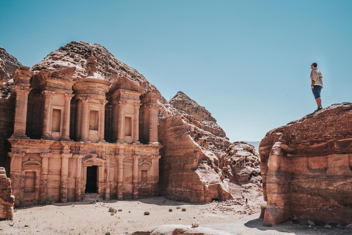 Visiting Petra: Max admiring the Monastery in Petra, Jordan