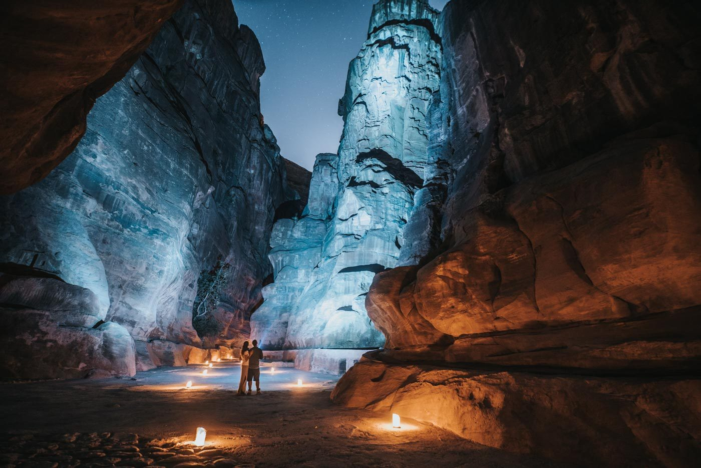 Things to do in Jordan: Admiring the Siq at night