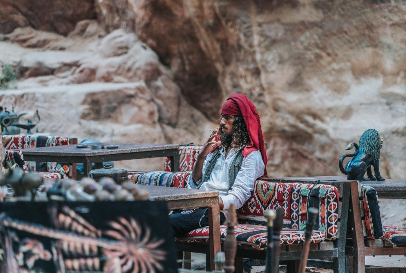 Jack Sparrow look-alike at a shop in Petra, Jordan