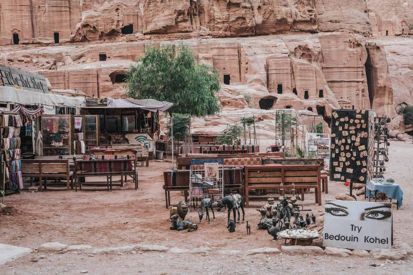 Souvenir shop and cafe in Petra, Jordan