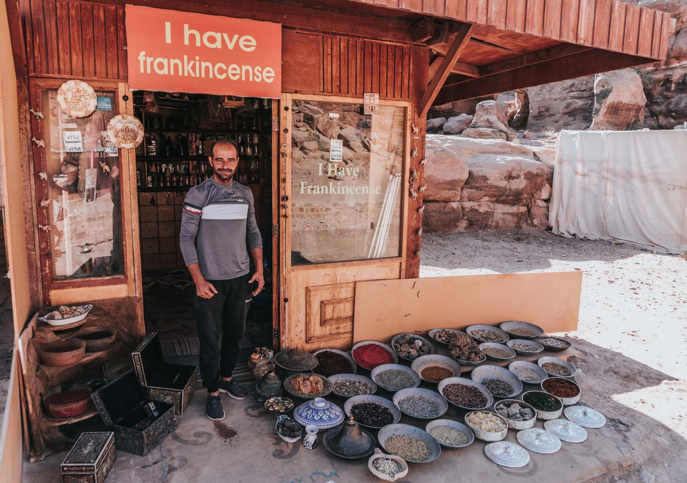 Frankincense Shop in Petra, Jordan. One of the few responsible shops in all of Petra.