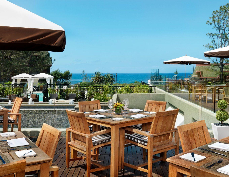 eco-friendly winter getaway: patio at LAuberge Del Mar