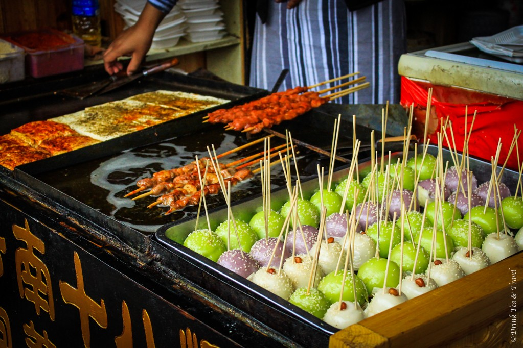 Skewers and mochi ball (?) deserts in Lijiang, China