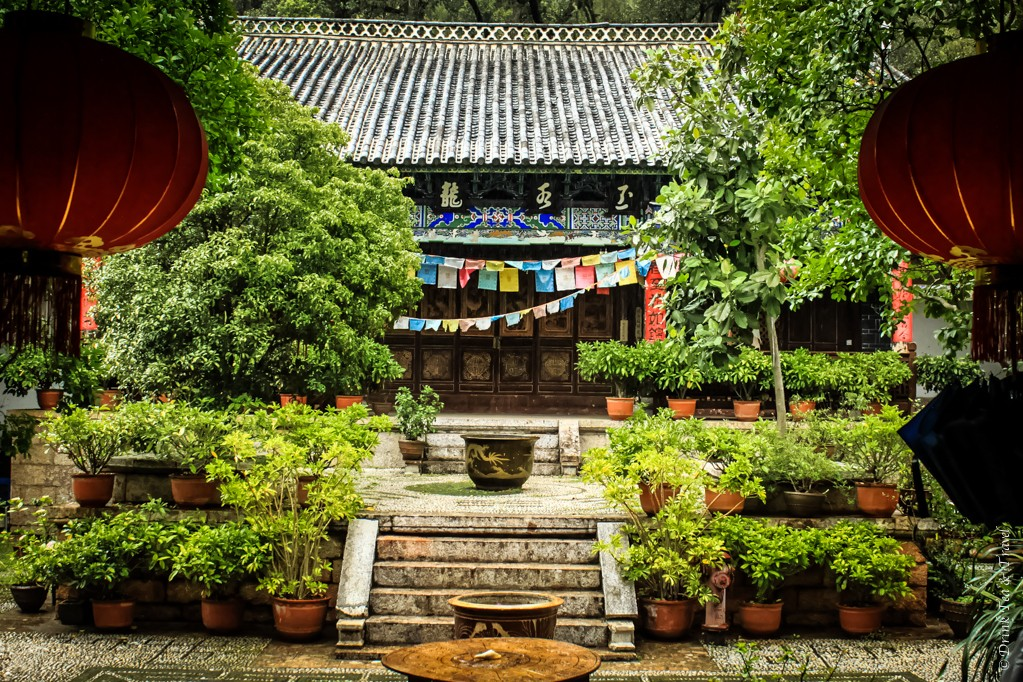 Inside one of the temples in Jade Spring Park, Lijiang, China