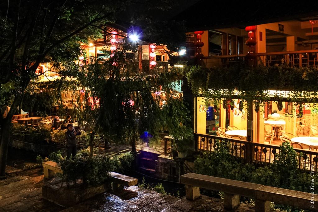 Bar street at night, Lijiang, China