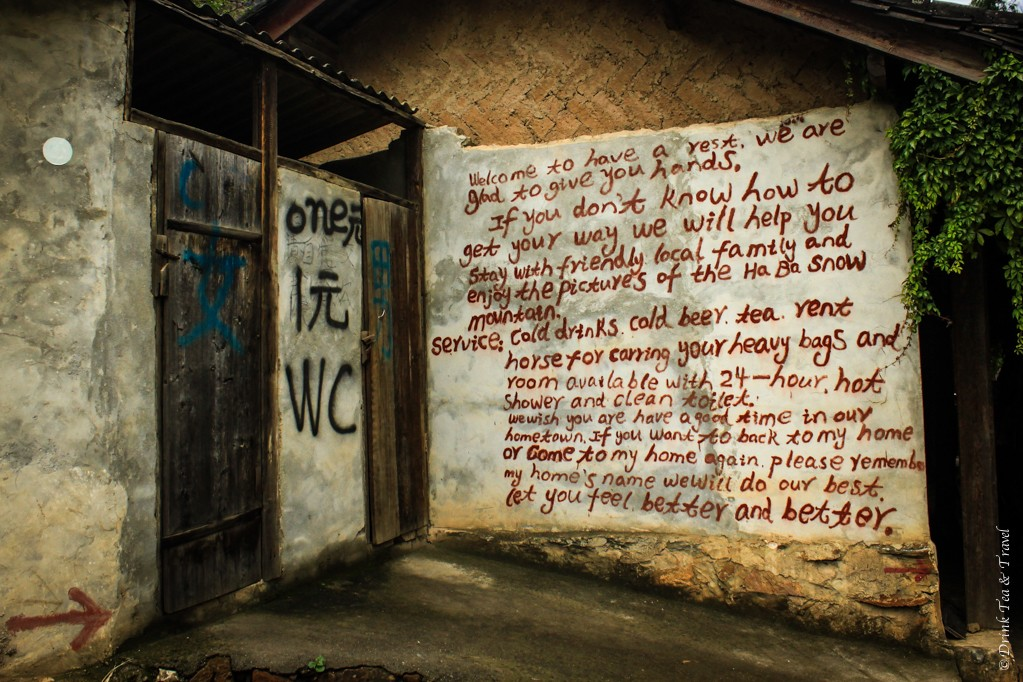 A welcome sign at one of the small guest houses along the hike route in Tiger Leaping Gorge
