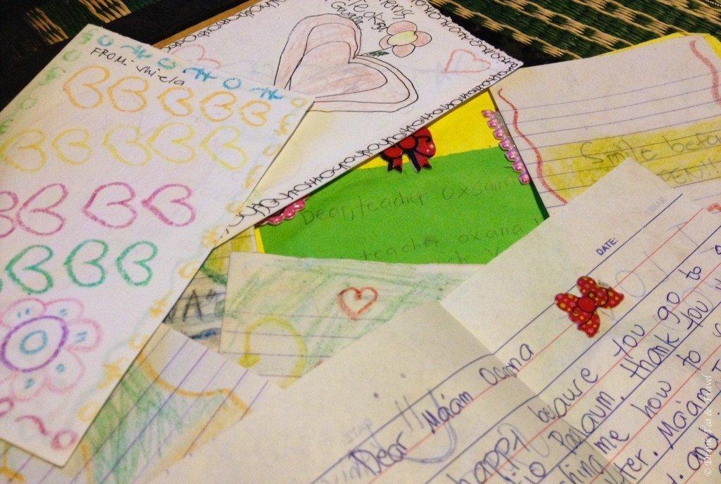 Thank you cards from students in Liloan dumpsite school, Liloan, Cebu, Philippines