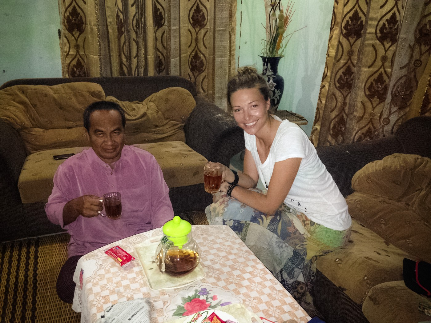 Drinking tea with Ismail in his living room. Homestay. Sabah. Malaysia