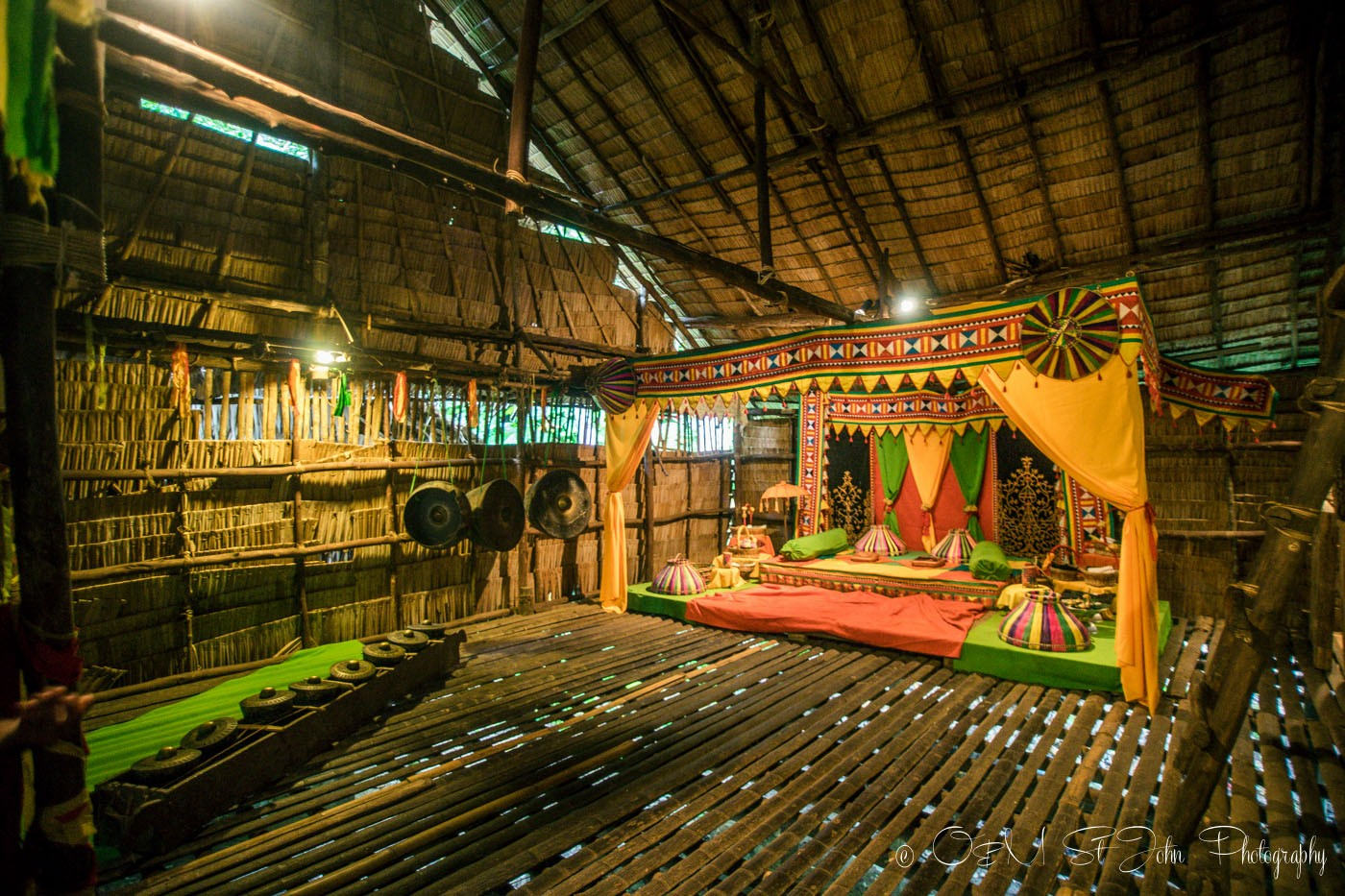 Traditional wedding set up inside one of the huts at the Mari Mari Cultural Village. Sabah. Malaysia