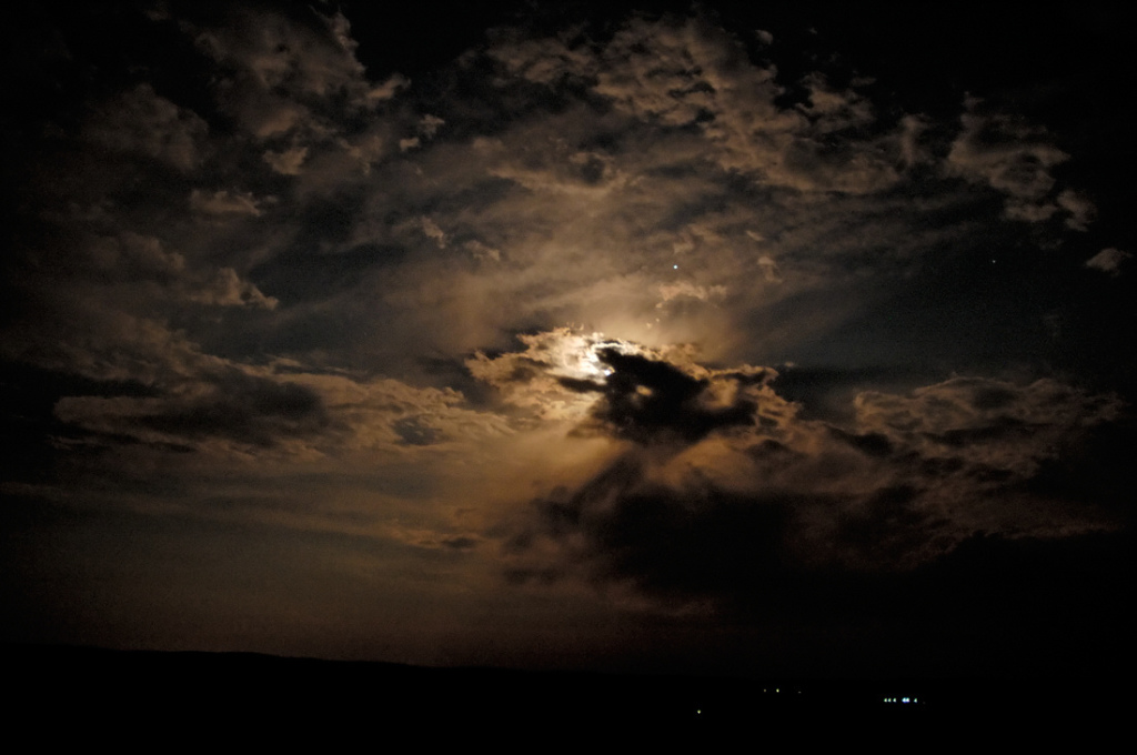 Cloudy sky at night