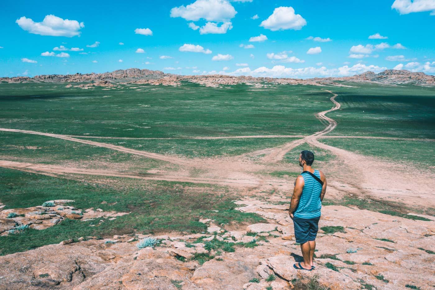 Overlooking the steppe at Baga Gazriin Chuluu, Gobi Desert