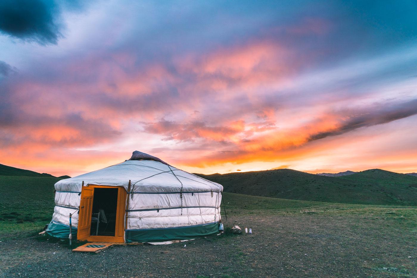 Sunset over the ger camp in Gobi Desert