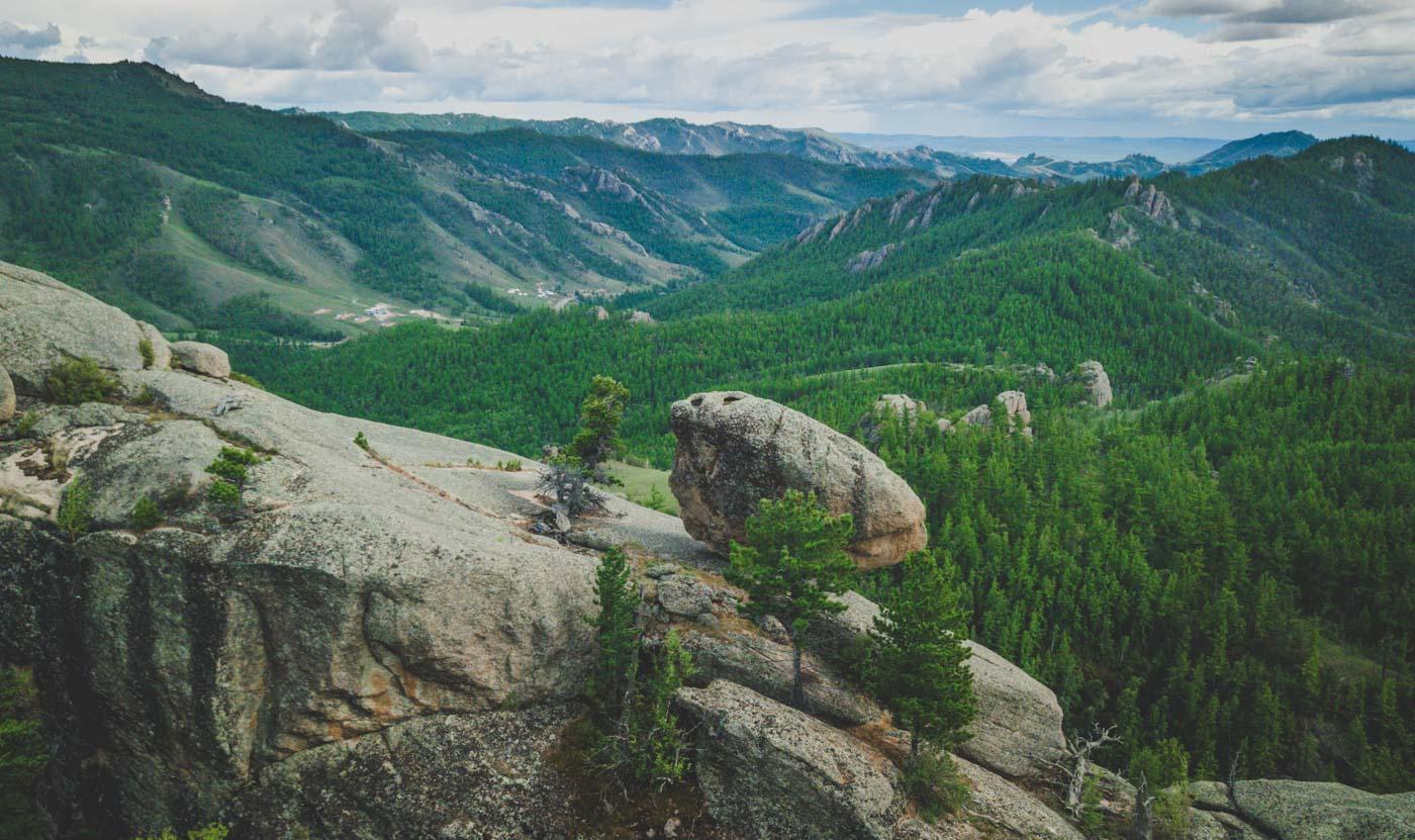 Giant rock formations inside the Gorkhi-Terelj National Park