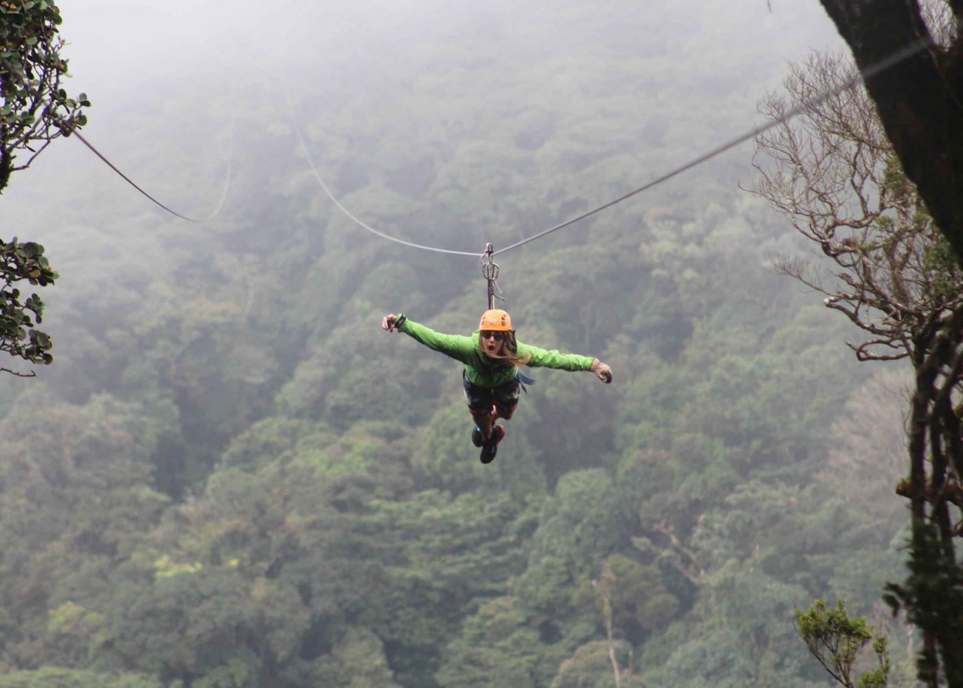 Superman zip line at 100% Aventura Canopy Tour in Monteverde, Costa Rica