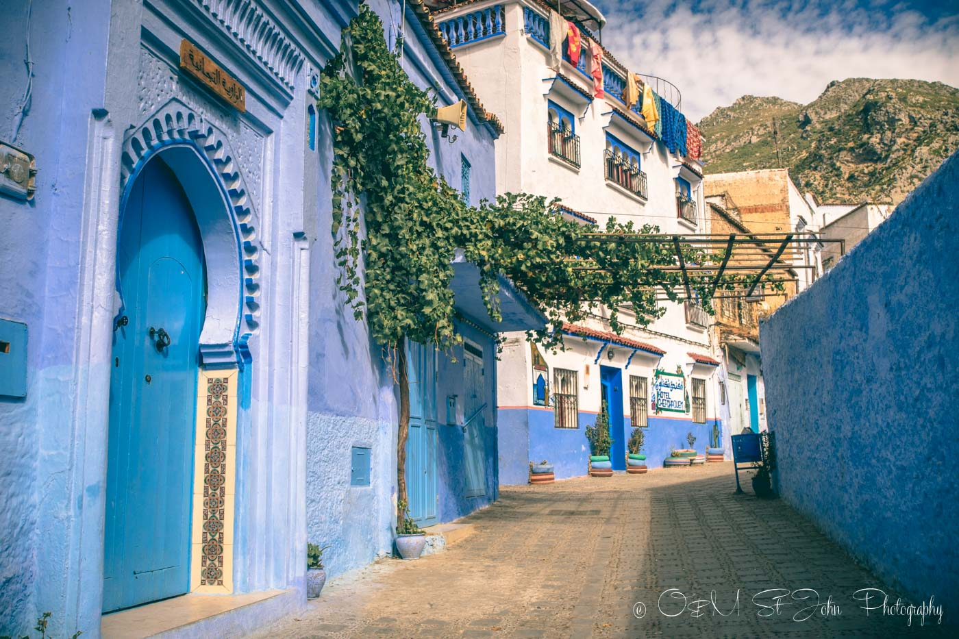 Picture perfect street in Chefchaouen, Morocco