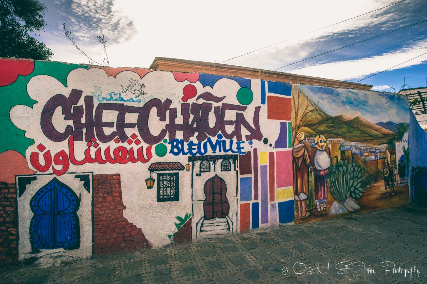 Graffity in Chefchaouen refers to the city as Blueville. Morocco