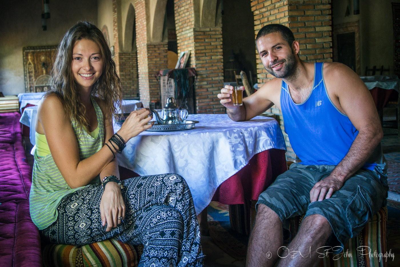 Max & Oksana drinking Moroccan mint tea in Merzouga. Morocco