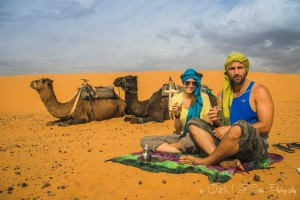 Drinking tea in the Erg Che, off the grid vacationbbi. Sahara Desert. Morocco, off the grid vacation