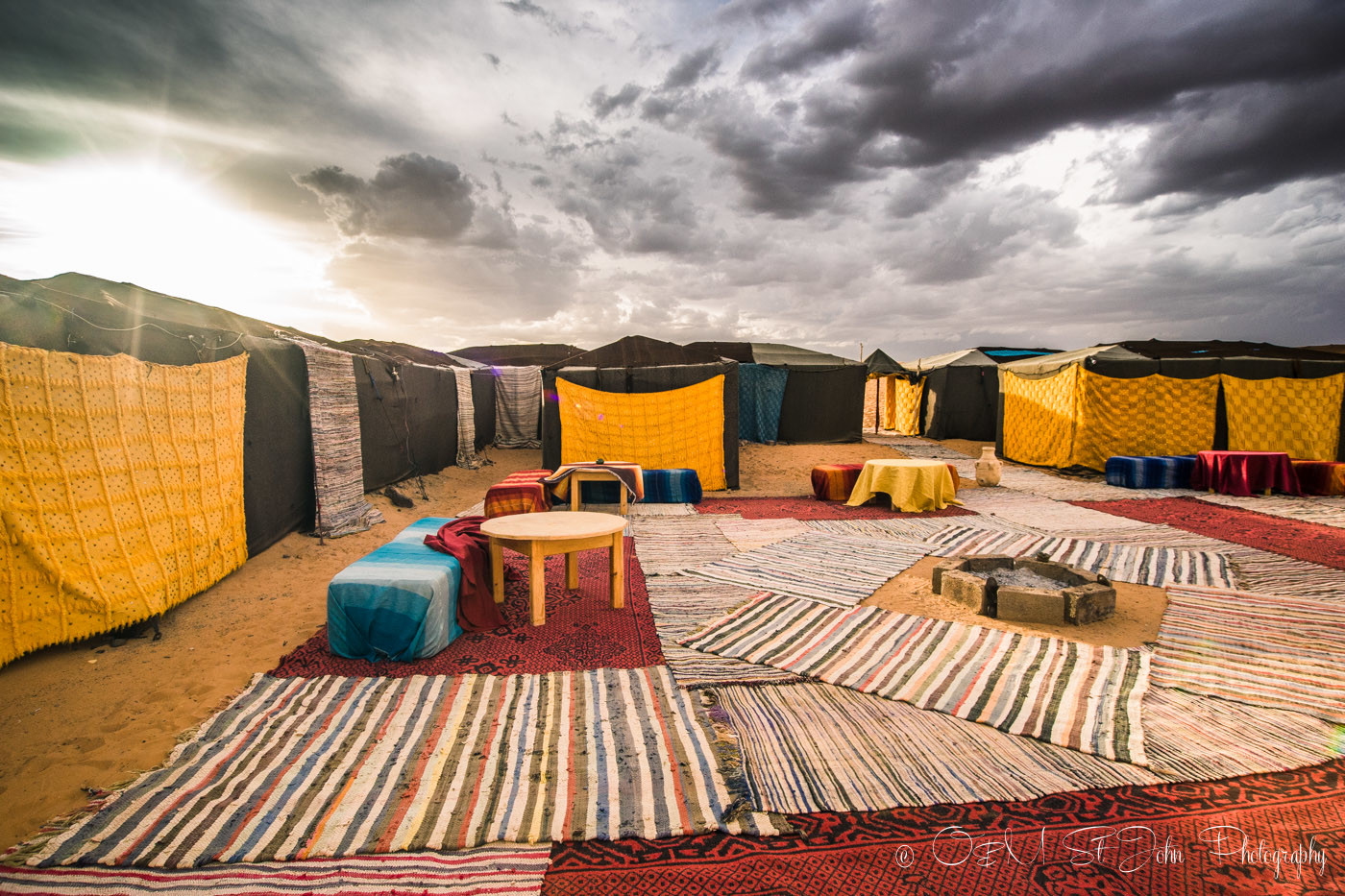 The fancy camp site in Erg Chebbi. Sahara Desert. Morocco, off the grid vacation