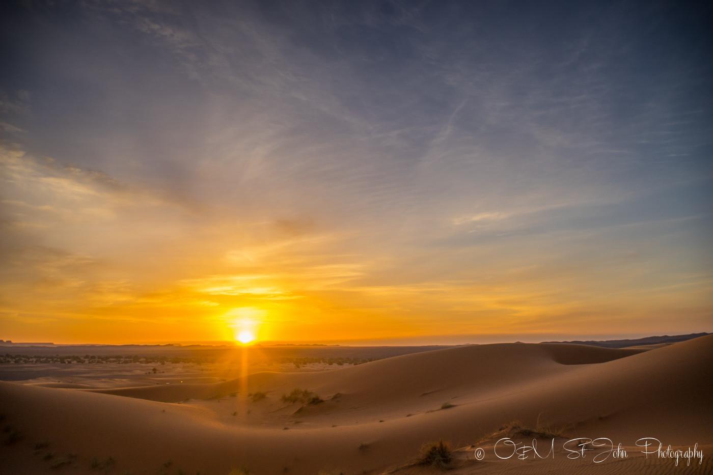 Sunrise in Erg Chebbi, Sahara Desert. Morocco, off the grid vacation