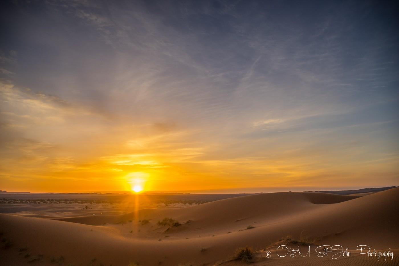Sunrise in Erg Chebbi, Sahara Desert. Morocco