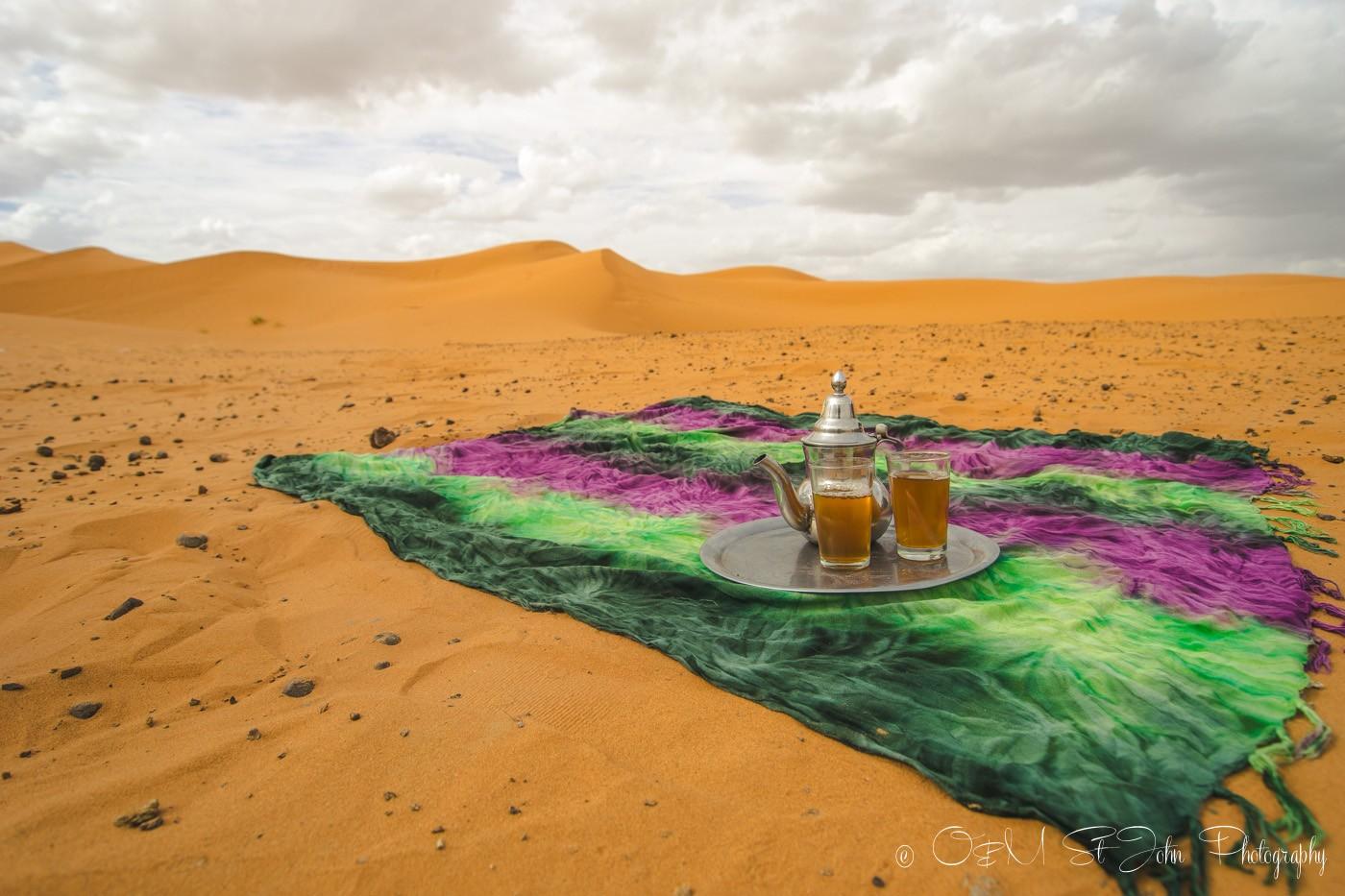 Moroccan mint tea. Berber whiskey. Sahara. Morocco