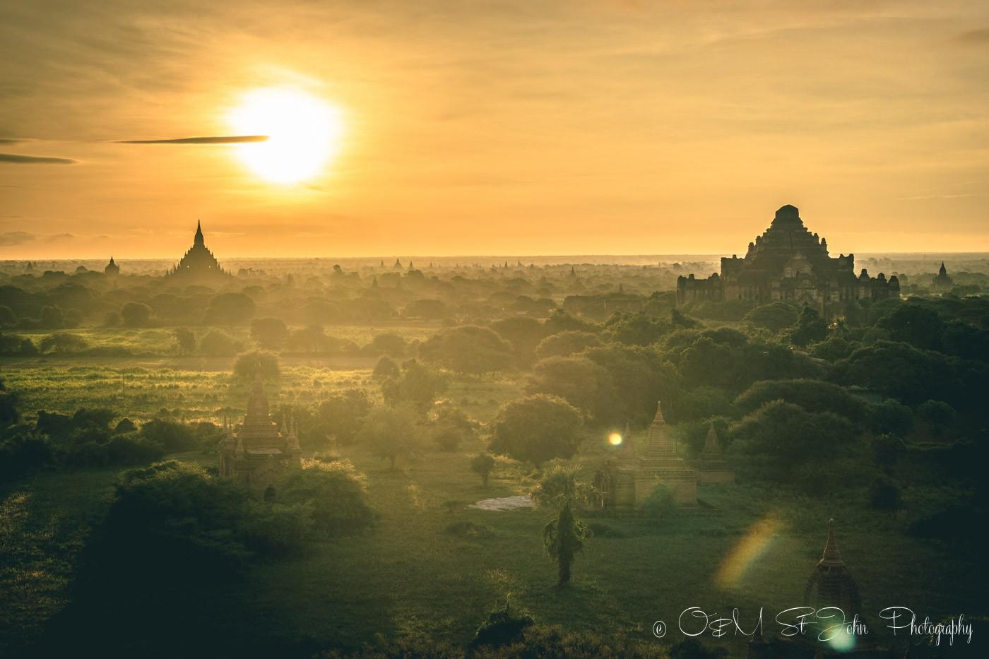 Myanmar travel: Sunset over Bagan, Myanmar