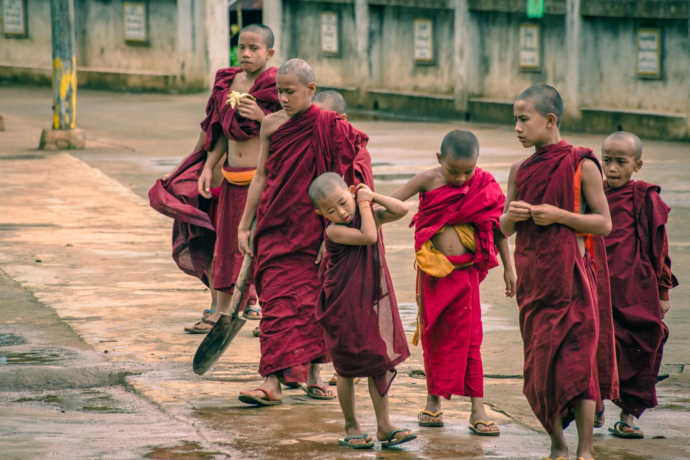 Novice Burmese monks at the monastery. Myanmar