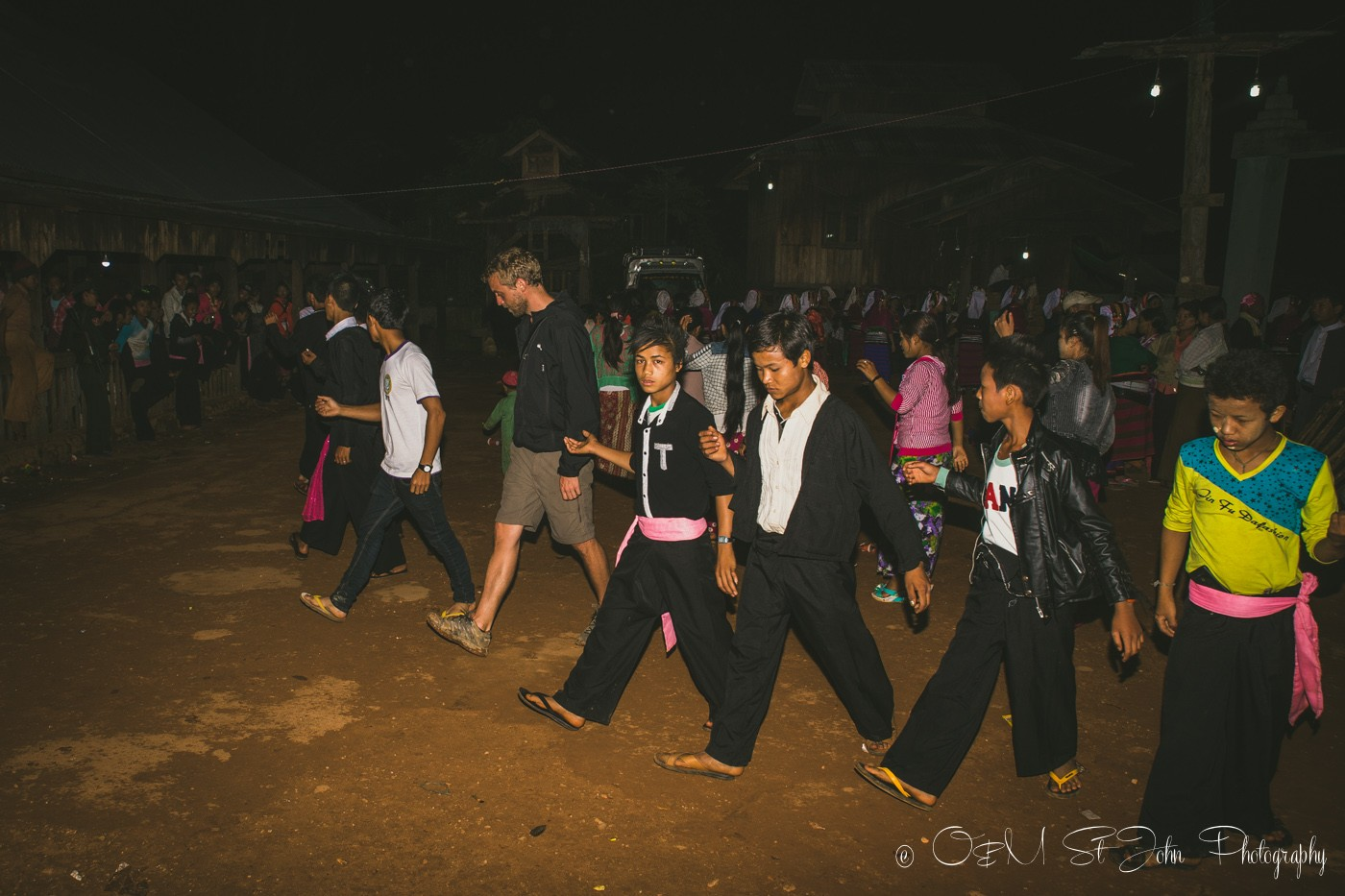 Learning the traditional dance at the Palaung VIllage Monk Harvest Festival. Myanmar