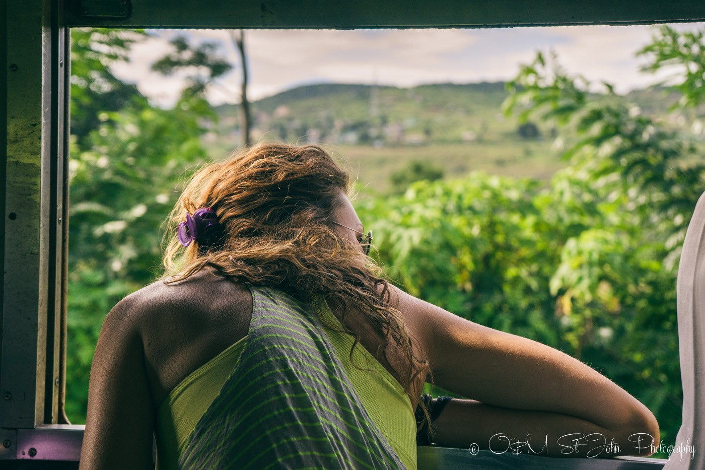 Oksana looking out the windon on train to Hsipaw. Myanmar