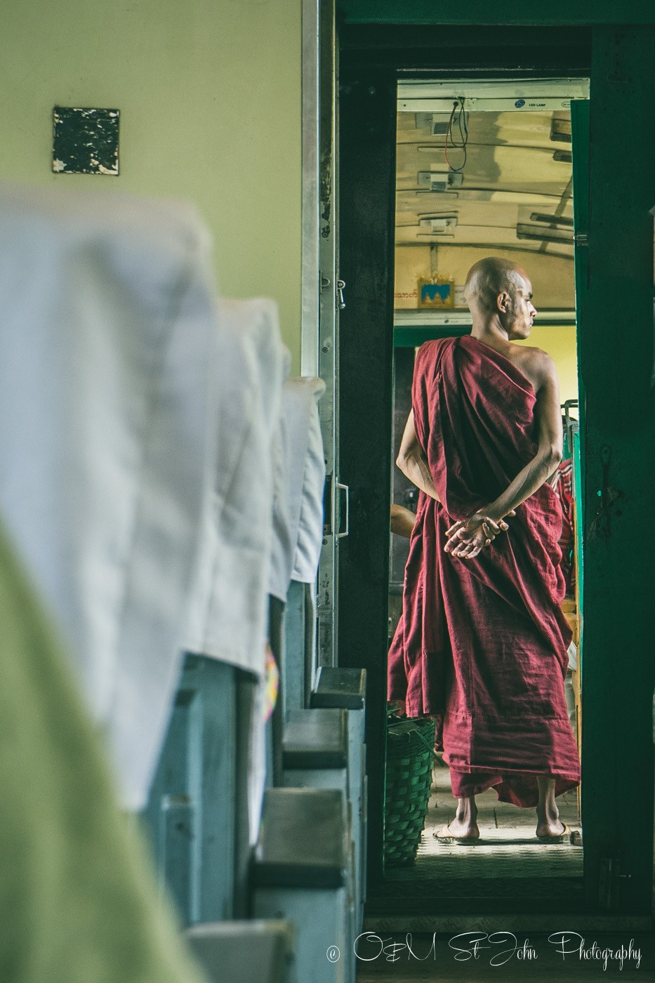 Monk on the train to Hsipaw. Myanmar