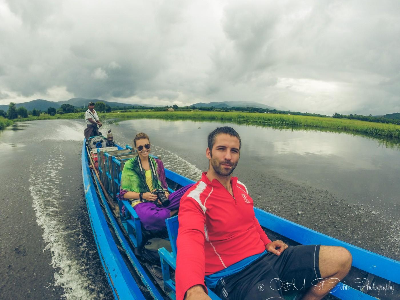 Sailing down Inle Lake, Myanmar